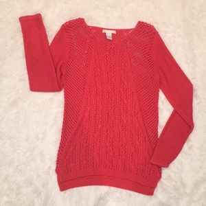 Coral Chunky Knit Sweater, Small